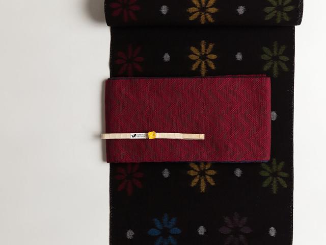 リバーシブル半幅帯「ほっこり素朴な手紬風-OLN」
