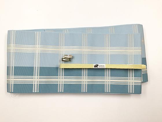 博多織ー正絹リバーシブル半幅帯「大判格子 Blueグレイ」
