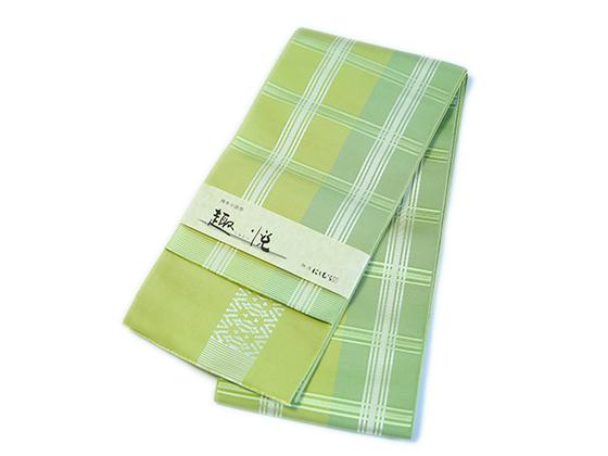 博多織ー正絹リバーシブル半幅帯「大判格子・若草」