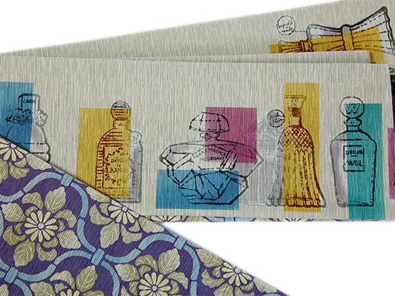 正絹リバーシブル半幅帯「召ませ花ーパフュームボトル・blanche」
