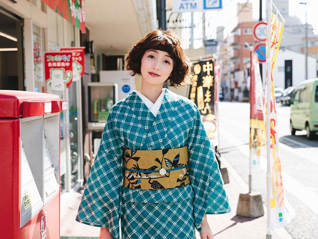 レース刺繍着物-フレンチ格子
