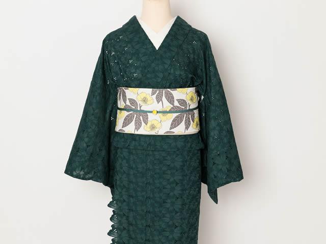 刺繍きもの-スカラップ花 GREEN