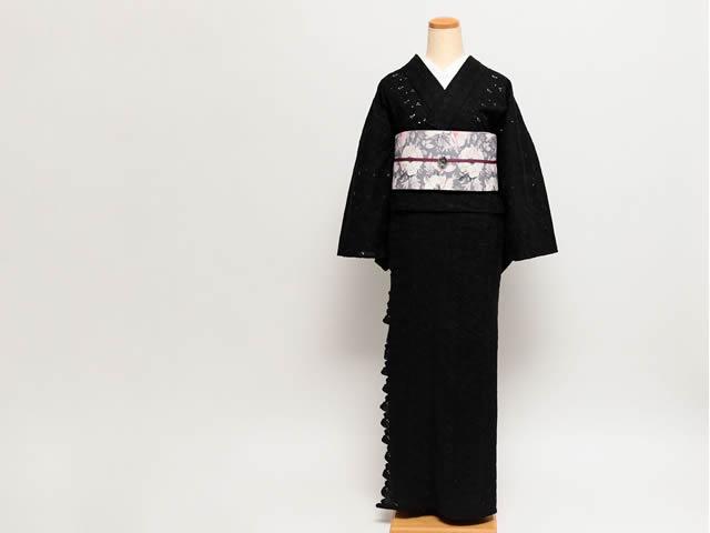 刺繍きもの-スカラップ花 BLACK