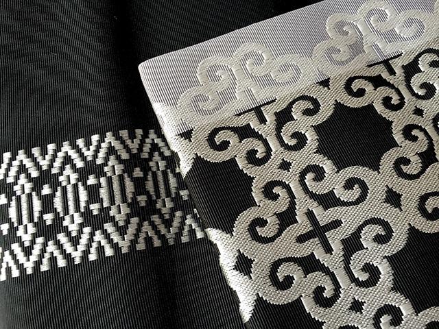 正絹八寸名古屋帯「アラベスクblack」