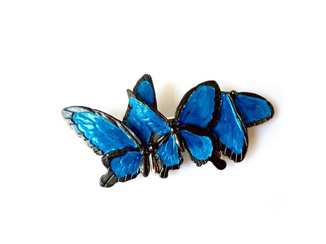 帯留め「青い蝶々」