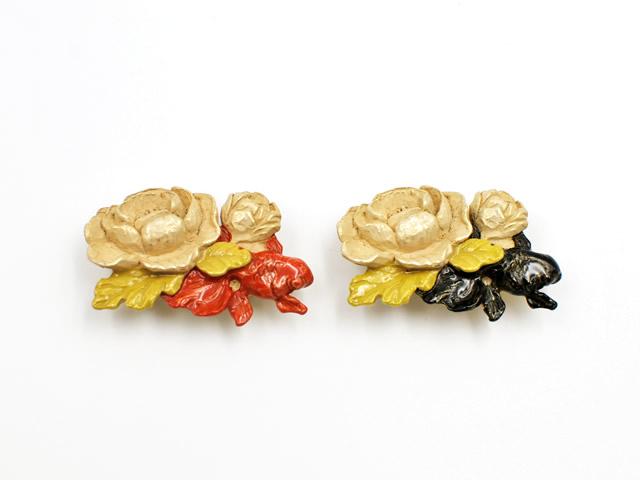 帯留め「蓮と金魚」