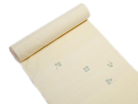 絣小紋 長井紬「幸せ運ぶ四葉のクローバー」