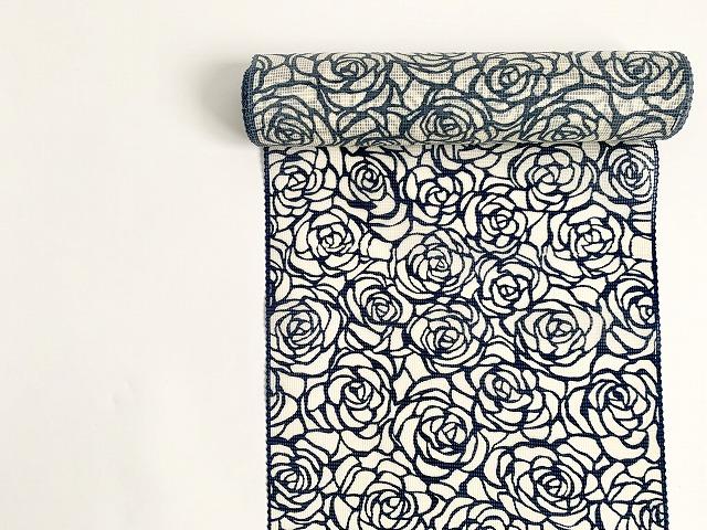 綿絹紅梅-型染め浴衣-薔薇rose