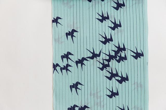 綿麻夏キモノ浴衣-空のツバメ